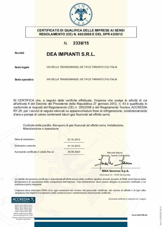 Certificazione FGAS Azienda