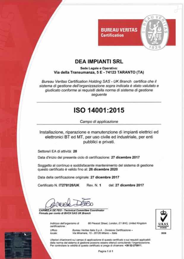 Certificato ISO14001-2015